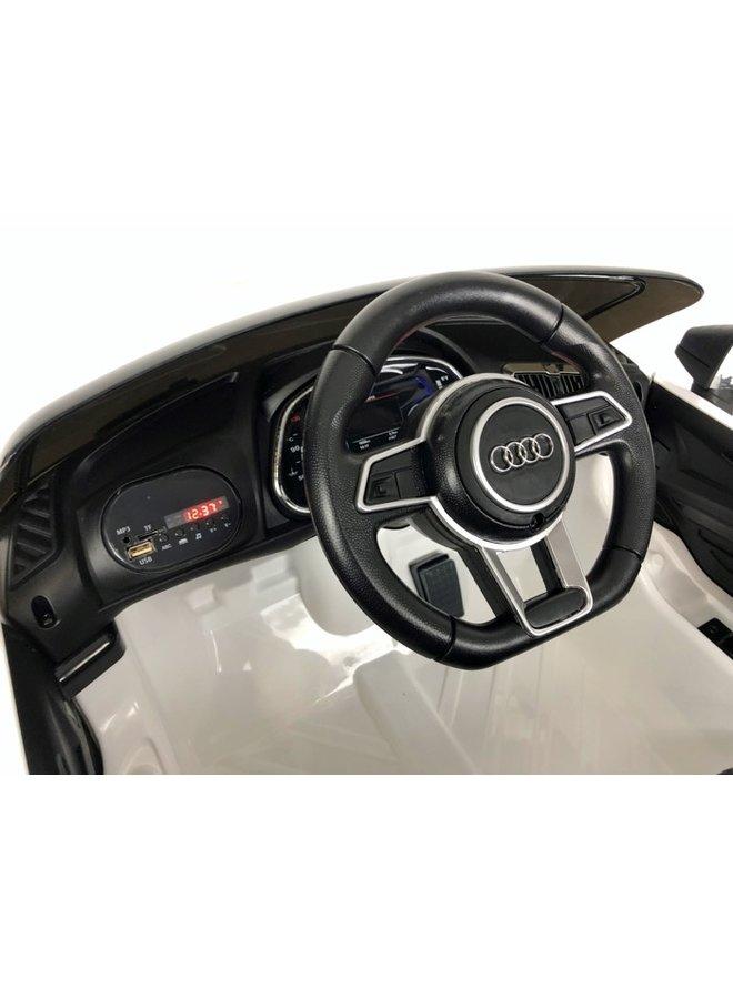 AUDI R8 12v, muziekmodule, lederen stoel, rubberen EVA-banden (JJ2198) (wit)