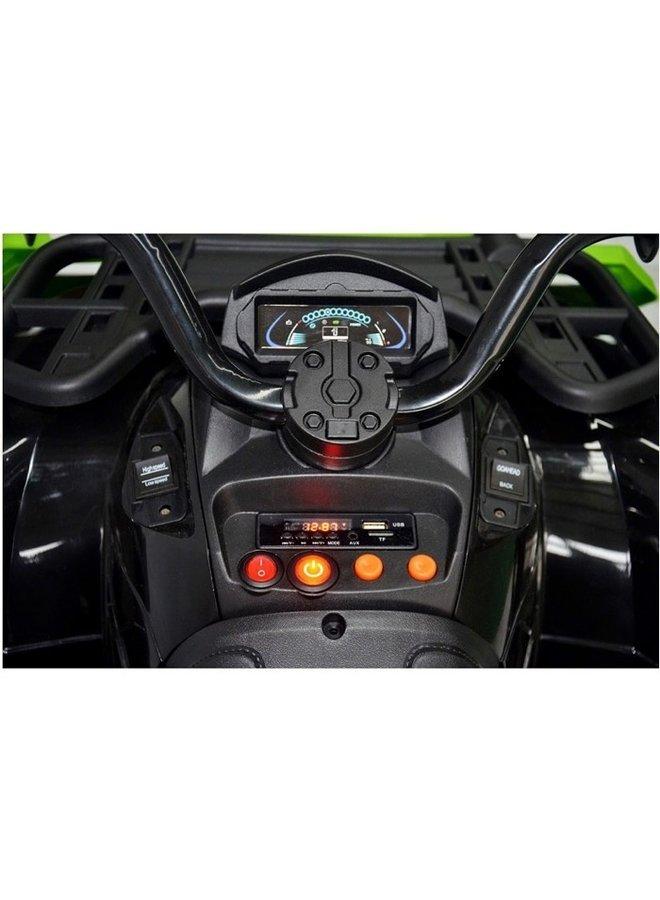 Quad XL, 24 volt, lederen zitting, rubberen EVA-banden (BDM-0909) (rood)