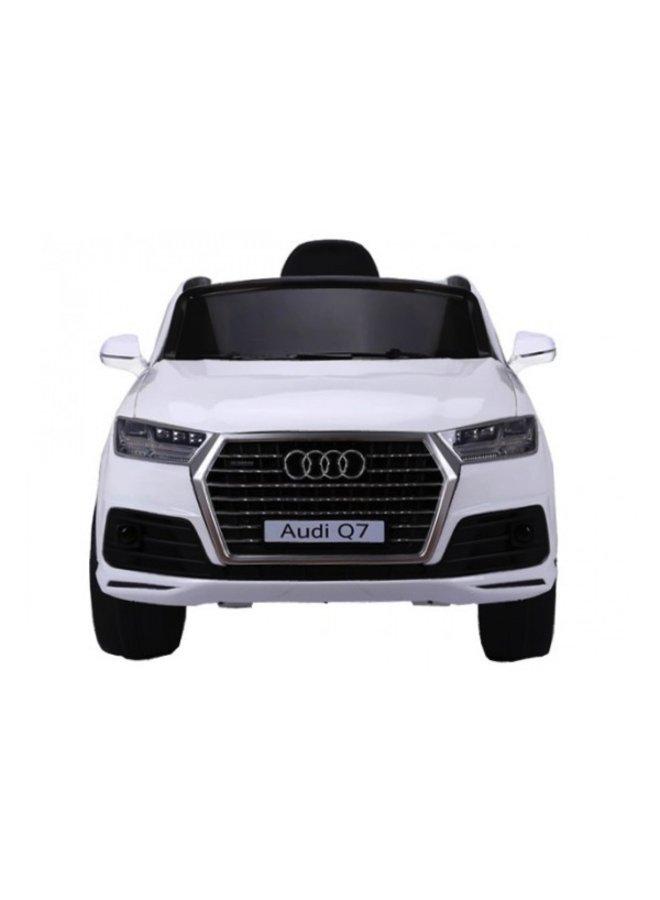 Audi Q7 12v, muziekmodule, lederen stoel, rubberen EVA-banden (JJ2188) (wit)