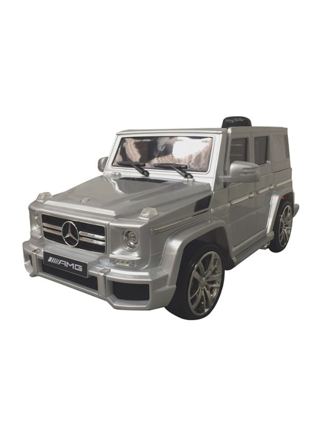 Mercedes G63 12v, muziekmodule, lederen stoel, rubberen EVA-banden (HL168) (hoogglans zilver)