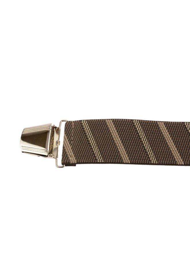 Brede bruin beige gestreepte Bretels - extra sterke clips