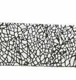 Alberto riemen Abstracte witte damesriem met zwarte lijnen