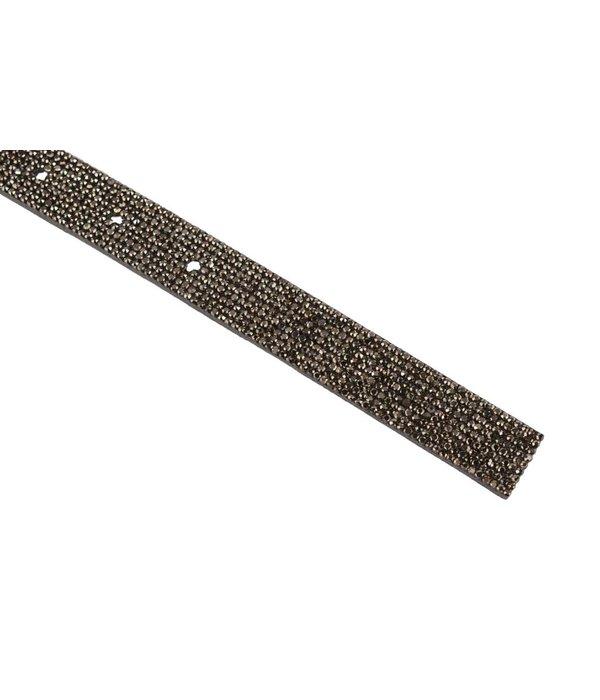 Depeche Luxe smalle grijze leren damesriem met glitters