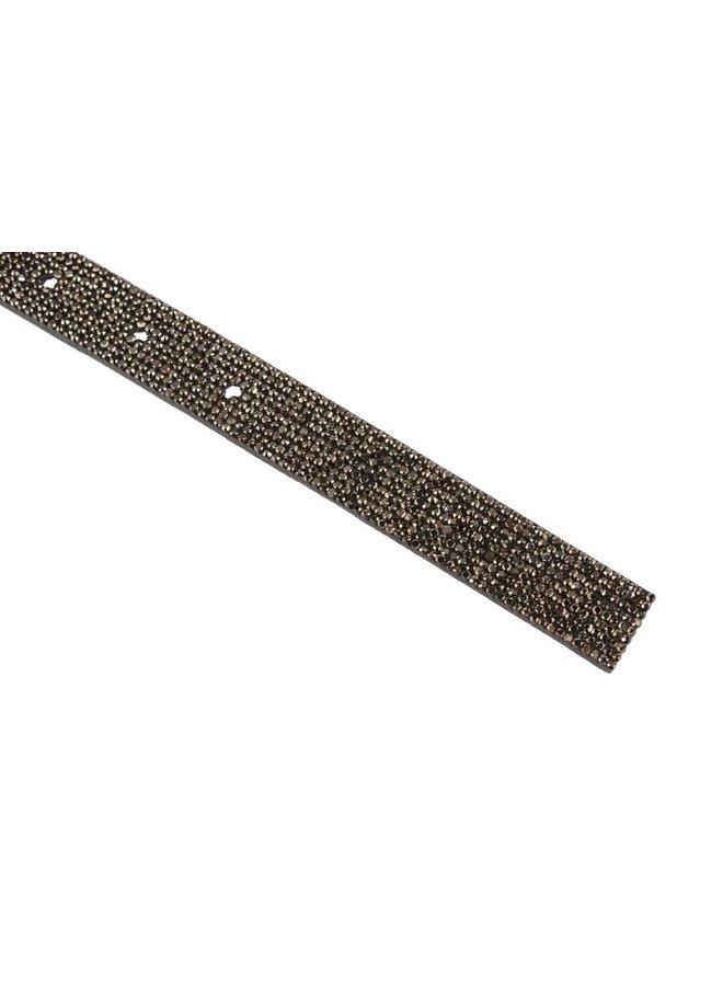 Luxe smalle grijze leren damesriem met glitters