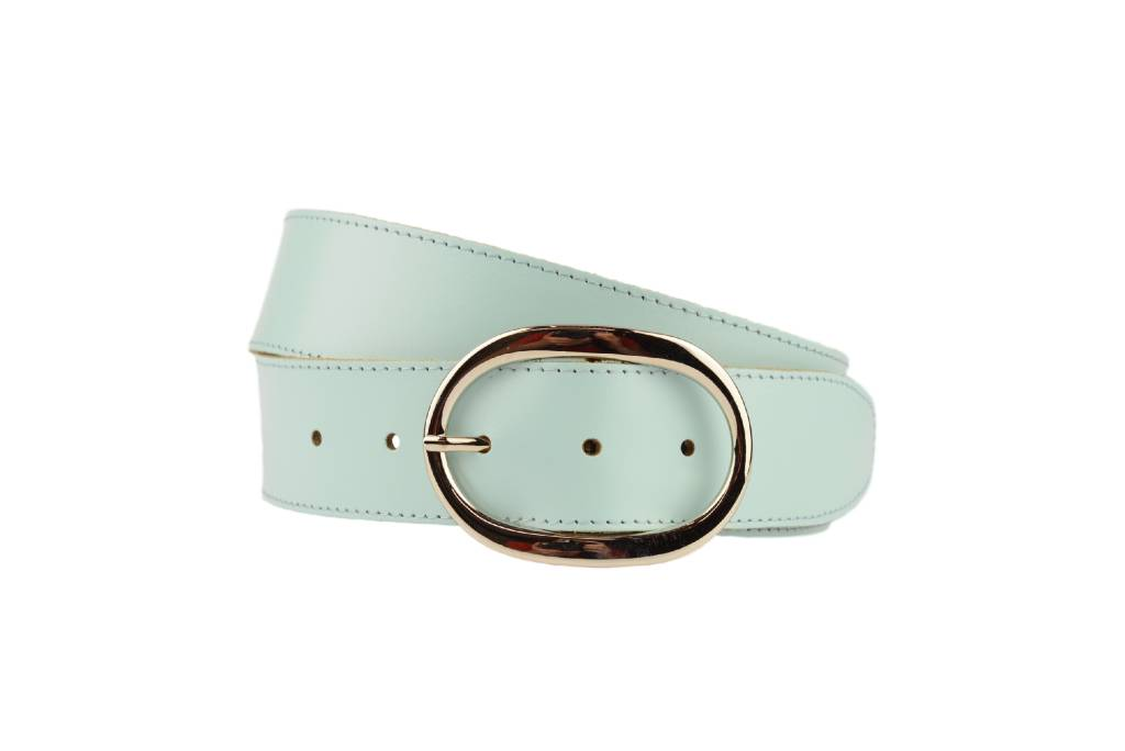 luxe lichtblauwe damesriem met ovale gesp