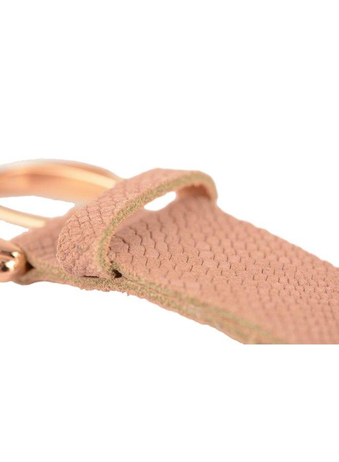 Fraaie old pink damesriem met slangenstructuur
