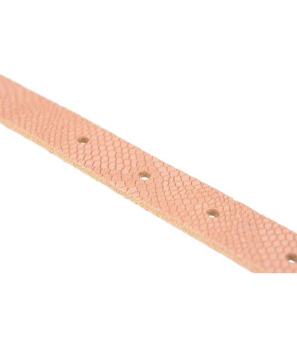 Doska smalle old pink damesriem met slangenstructuur