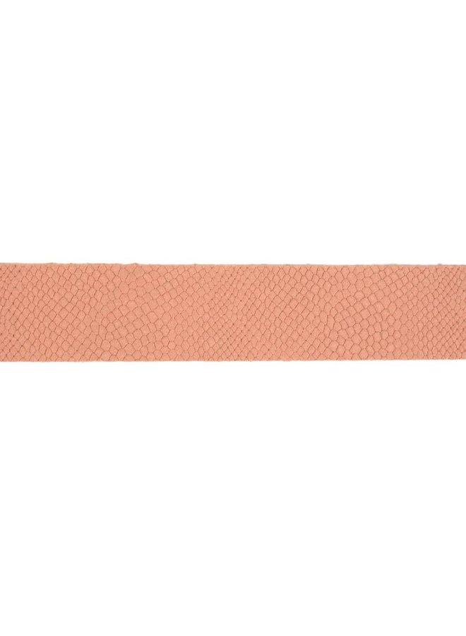 luxe old pink damesriem met slangenstructuur