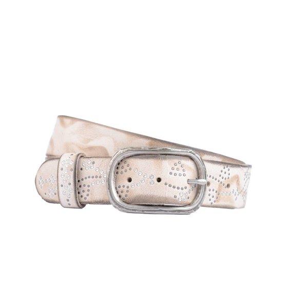 luxe beige leren damesriem met zilveren steentjes