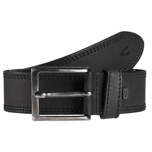 luxe stoere zwarte riem met dubbele stiksels