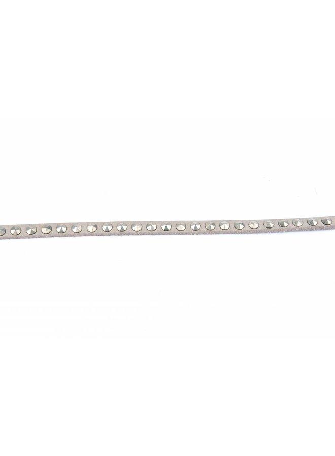 grijze smalle stoere damesriem met zilveren studs