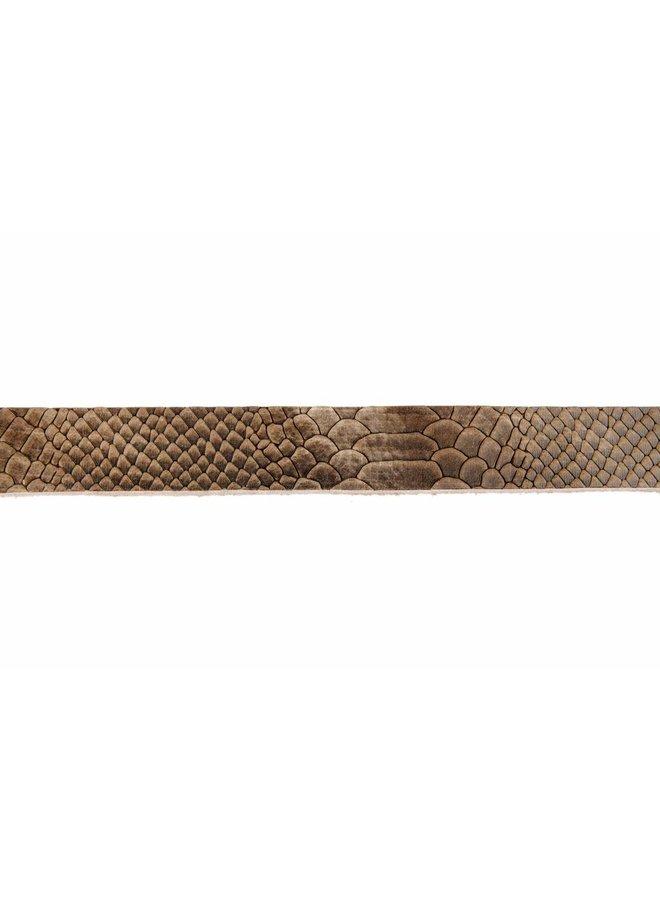 Vintage bruin/taupe croco kinderriem