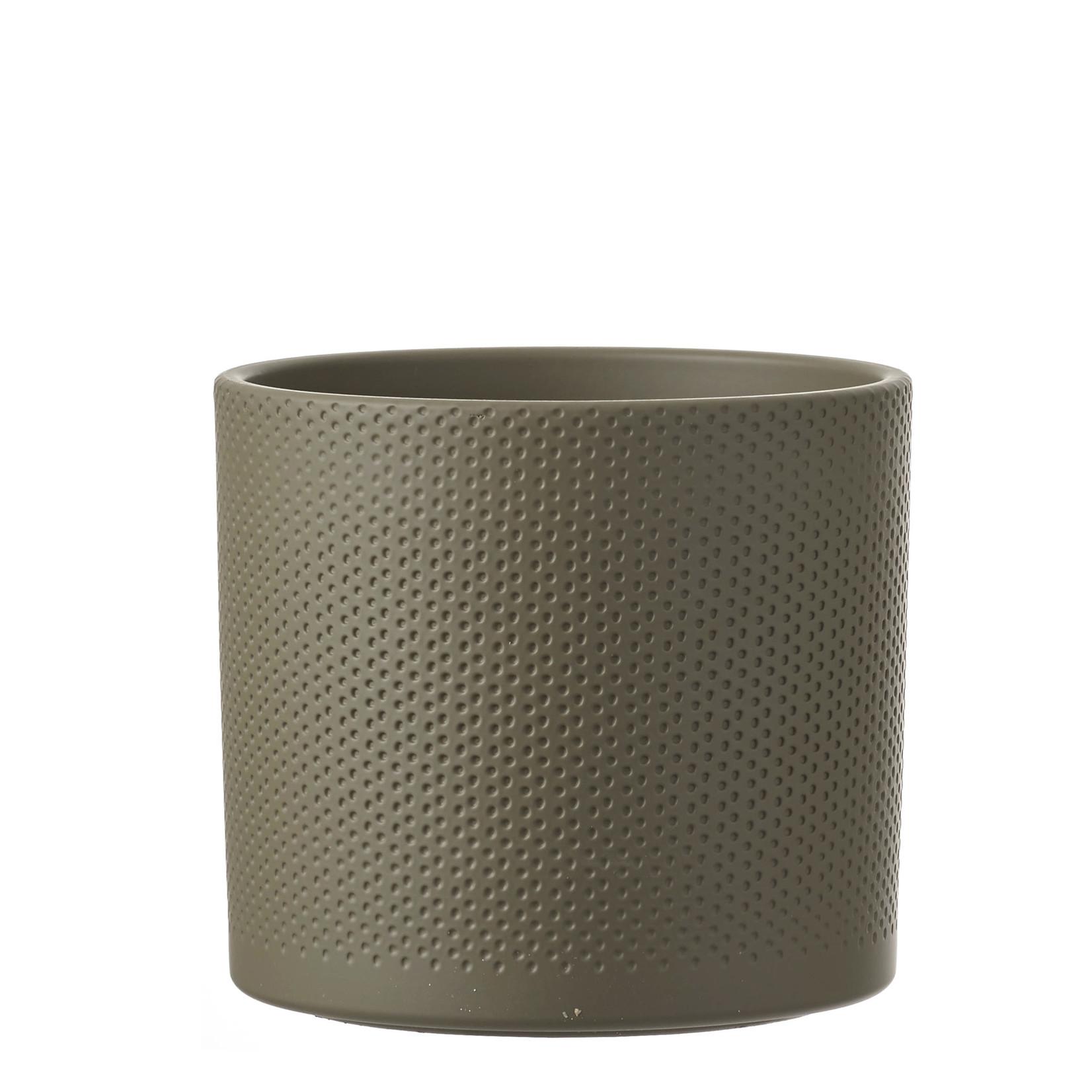 Era pot round green relief - h21,5xd23cm