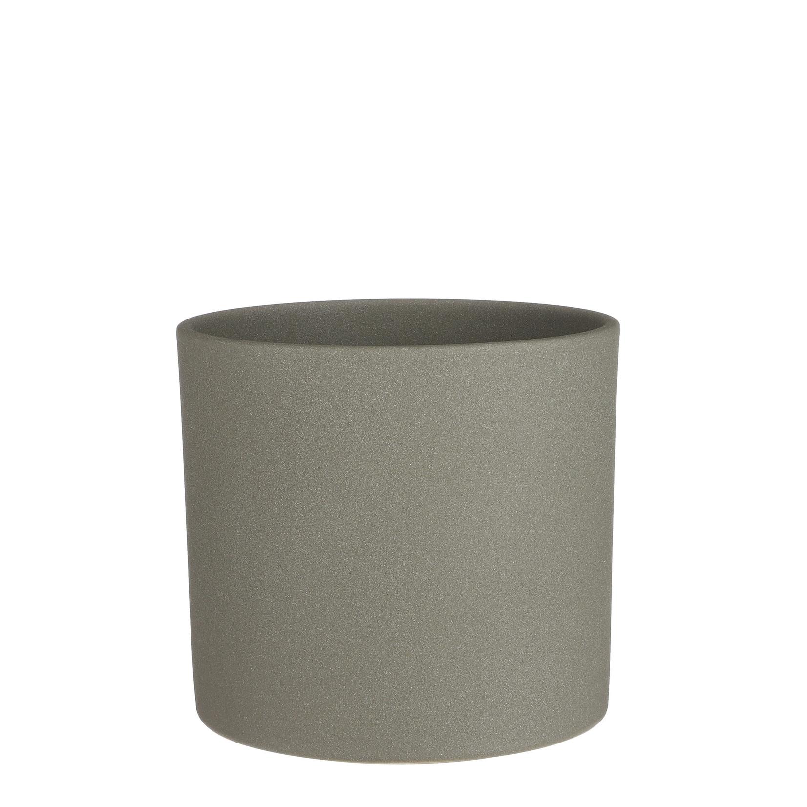 Era pot round green sand - h21,5xd23cm