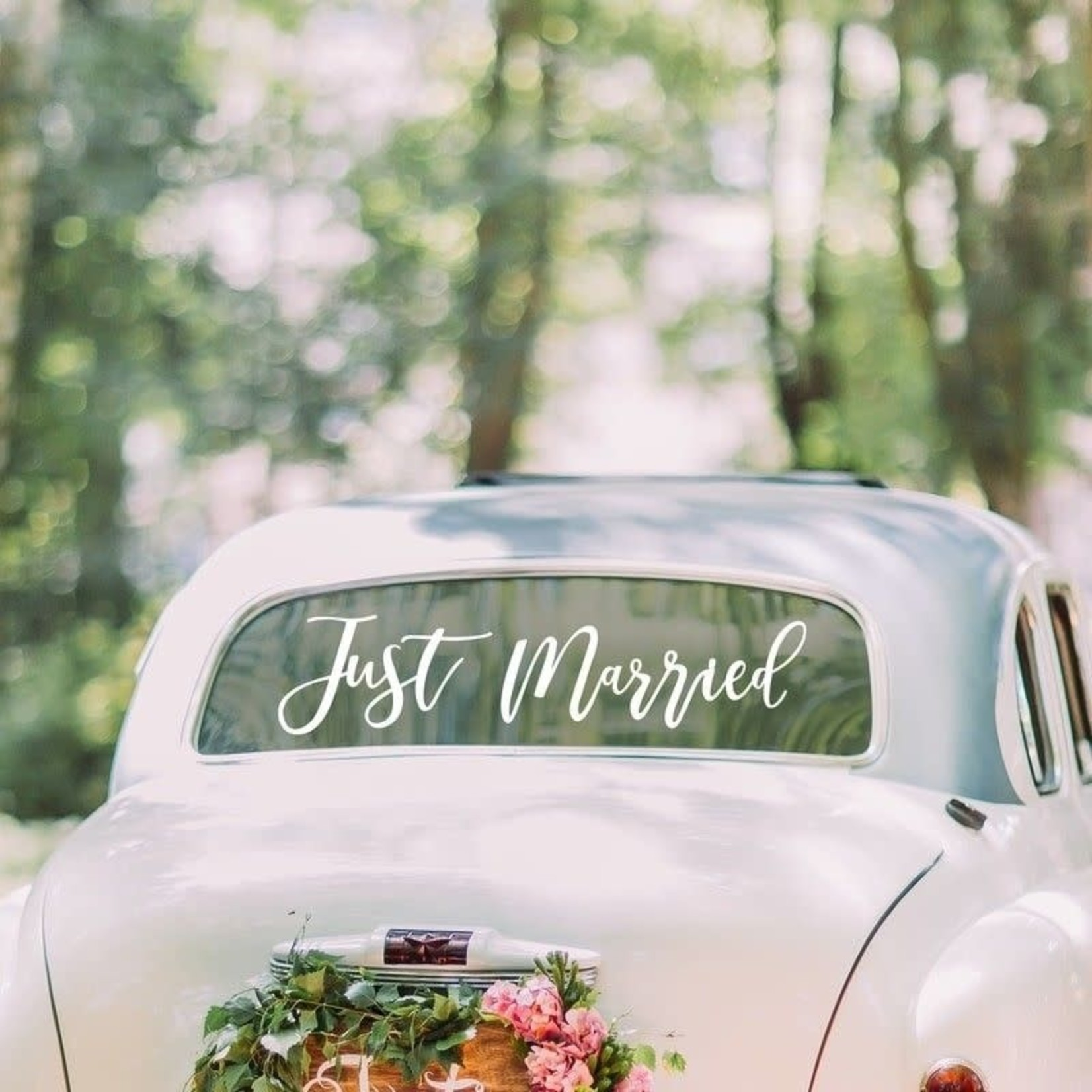 Gold Wedding -Just Married Car Sticker
