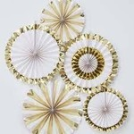 fan decorations  gold and white