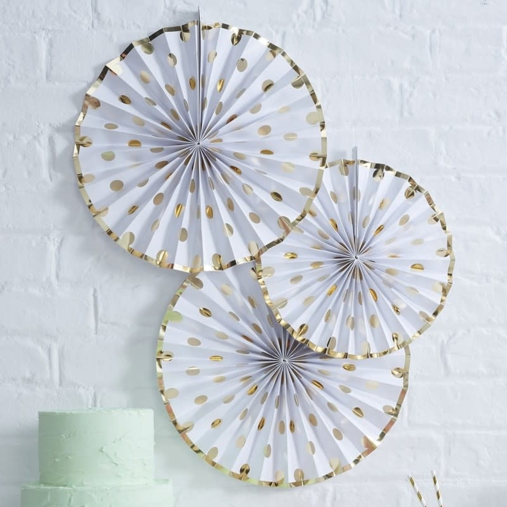 Fan Decorations - Polka Dot - Gold
