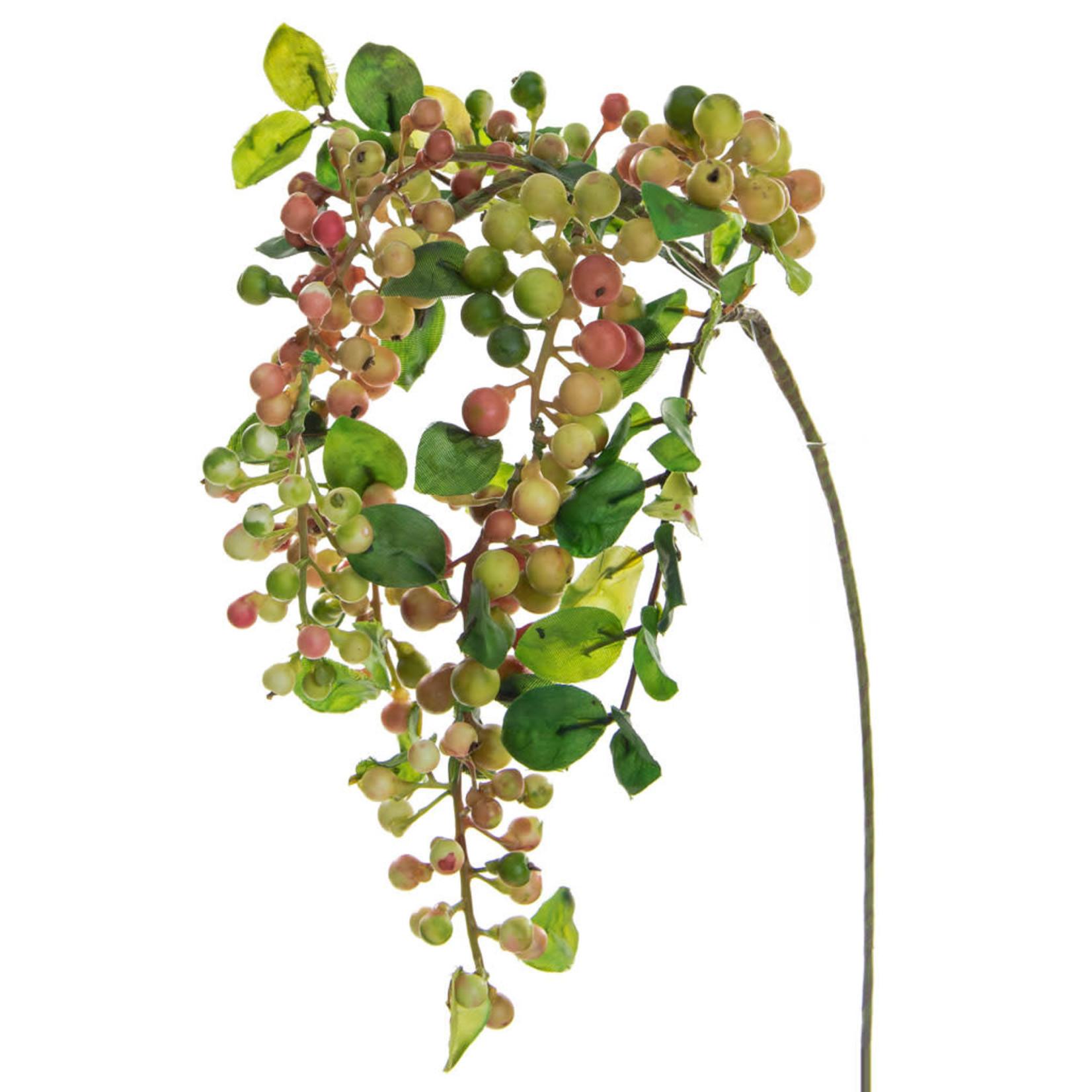 Foliage Hanging Berry Spray Grn GB 55cm