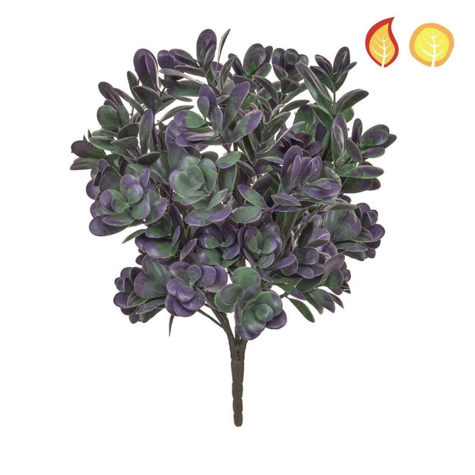Plants Base Boxwood Grn/Purp PI 40cm - UV Resistant & Fire Rated