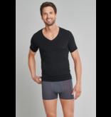 Schiesser Heren Shirt Korte Mouwen V-hals zwart- Personal Fit