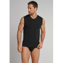 Schiesser Heren Hemd Zwart - Long Life Cotton