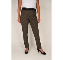 Stretch broek Robell beige / zwart