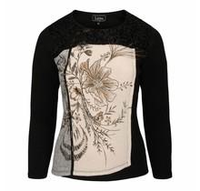 Shirt Leona per donna zwart/ wit
