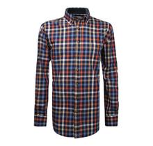 Overhemd met klittenbandsluiting geblokt oranje