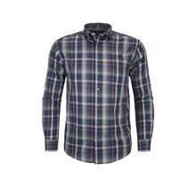 Overhemd met klittenbandsluiting geblokt blauw