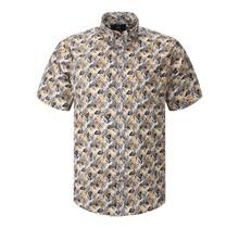 Overhemd met klittenbandsluiting blauw beige