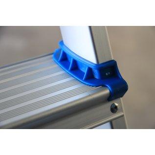 Alumexx Stufenstehleiter mit extra breiten Stufen, Werkzeugablage, speziellem Verriegelungsmechanismus und Tragetriff