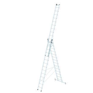 Günzburger Steigtechnik GÜNZBURGER Mehrzweckleiter 3-teilig mit nivello®-Traverse und Wandlaufrollen