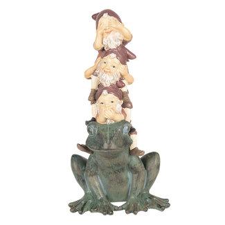 Clayre & Eef Clayre & Eef Decoratie kabouters op kikker 18*16*35 cm 6PR2646