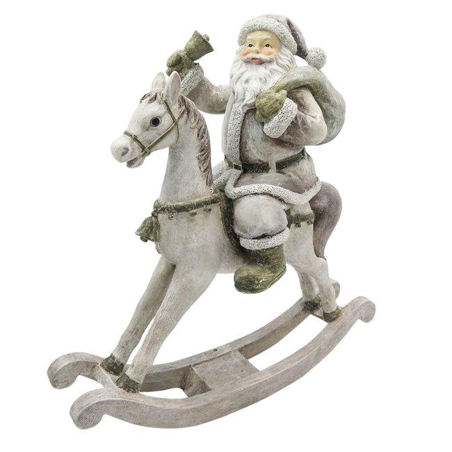 Clayre & Eef Decoratie kerstman op hobbelpaard 20*8*21 cm 6PR2768
