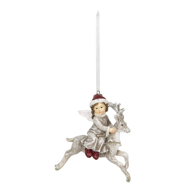 Clayre & Eef Decoratie hanger engel zittend op hert 8*5*9 cm 6PR2770