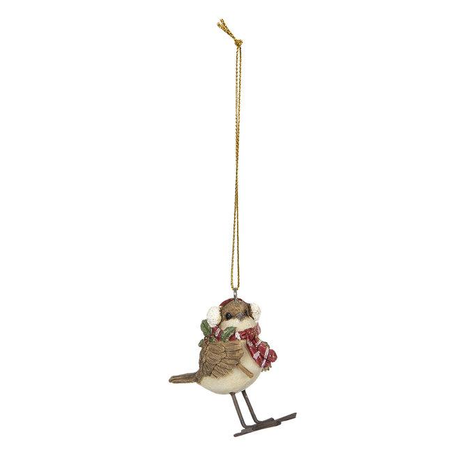 Clayre & Eef Decoratie hanger vogel 5*3*7 cm 6PR2797