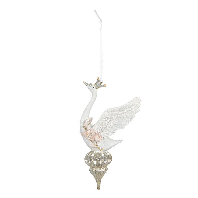 Clayre & Eef Decoratie hanger zwaan 10*6*16 cm 6PR2893