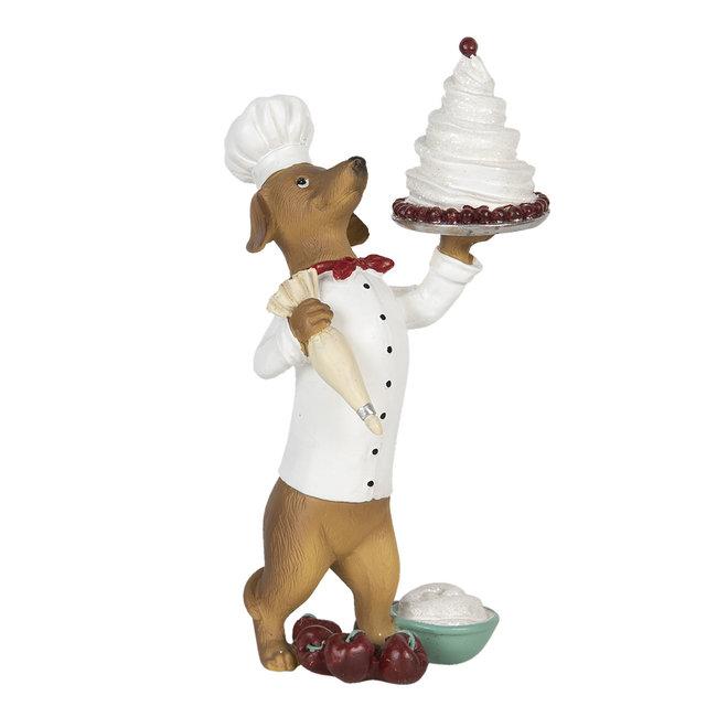 Clayre & Eef Decoratie hond met taart 11*11*24 cm 6PR2904