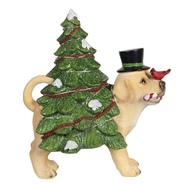 Clayre & Eef Decoratie hond met kerstboom LED 21*13*23 cm 6PR2988