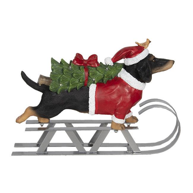 Clayre & Eef Decoratie hond op slee LED 40*10*28 cm 6PR2999