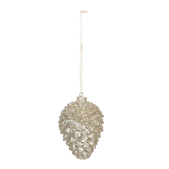 Clayre & Eef Decoratie hanger dennenappel Ø 5*7 cm 6PR3019