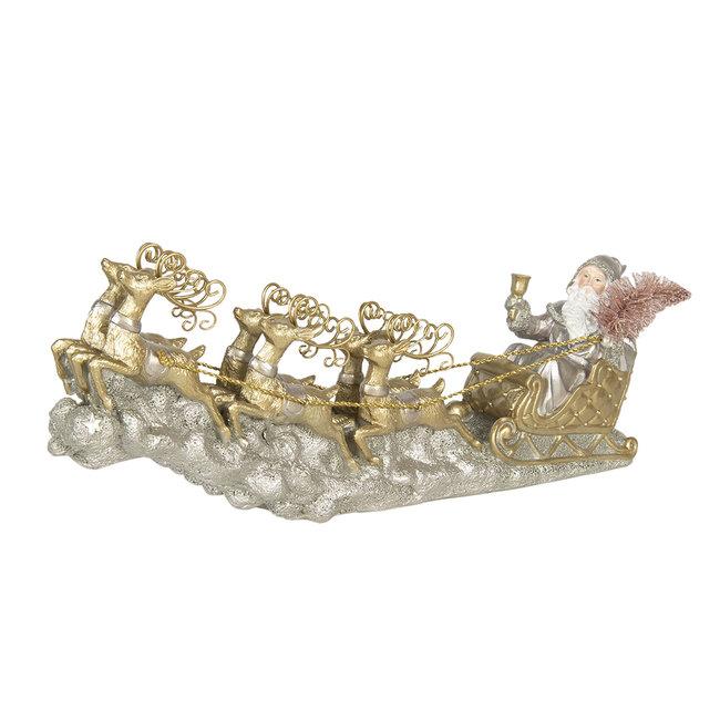 Clayre & Eef Decoratie kerstman in slee 36*6*15 cm 6PR3040