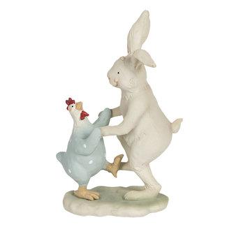 Clayre & Eef Clayre & Eef Decoratie dansende konijn met kip 12*7*19 cm 6PR3192