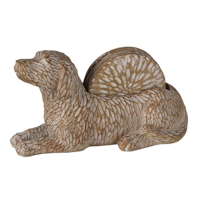 Clayre & Eef Decoratie hond met onderzetters (4) 12*9*21 cm 6PR3396