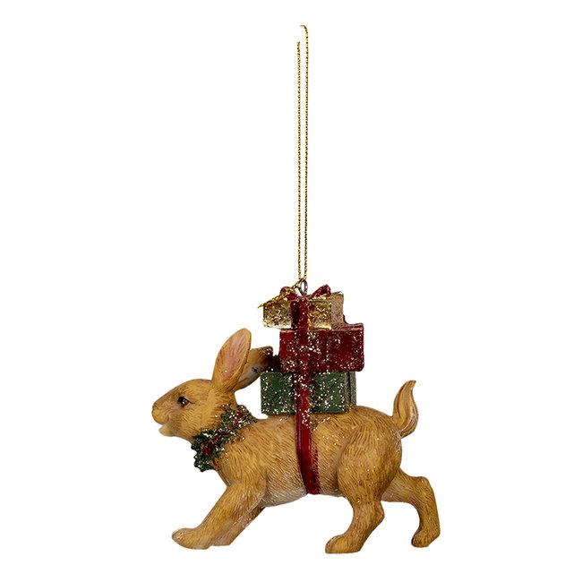 Clayre & Eef Decoratie hanger konijn 9*3*9 cm 6PR3464