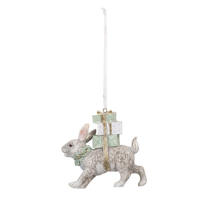 Clayre & Eef Decoratie hanger konijn 9*3*9 cm 6PR3465
