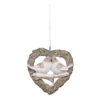 Clayre & Eef Clayre & Eef Decoratie hanger vogels 8*2*8 cm 6PR3471