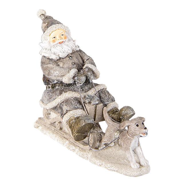 Clayre & Eef Decoratie kerstman op slee 24*8*16 cm 6PR3472