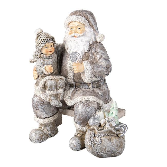 Clayre & Eef Decoratie kerstman met kind 15*10*16 cm 6PR3473