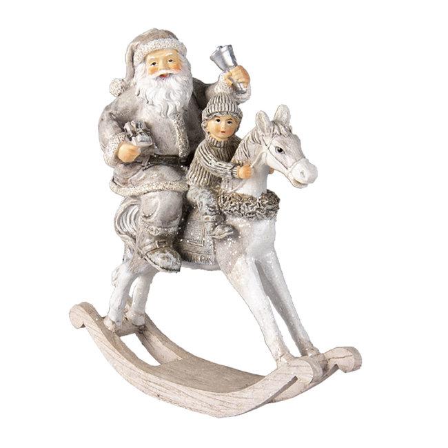 Clayre & Eef Decoratie kerstman op hobbelpaard 20*8*21 cm 6PR3474